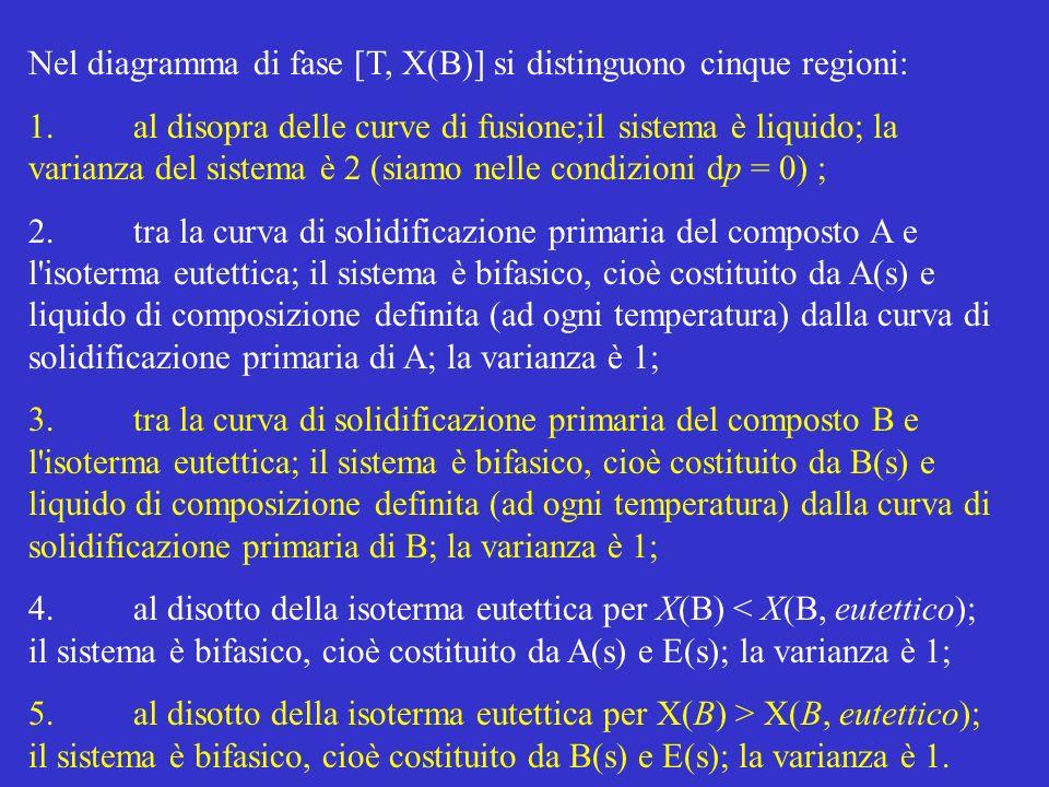 Nel diagramma di fase [T, X(B)] si distinguono cinque regioni: